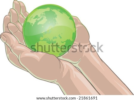 vector illustration of hands holding earth