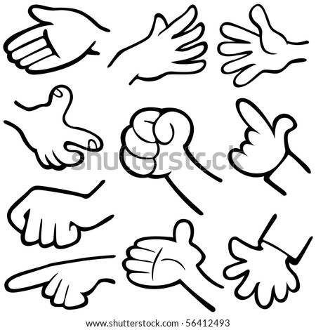 Vector illustration of hands in different poses. - stock vector