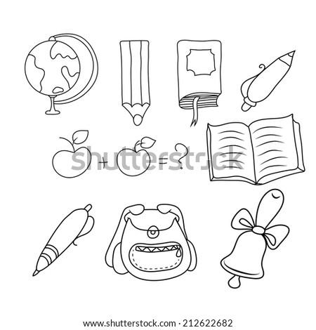 vector illustration of hands on school subjects - stock vector