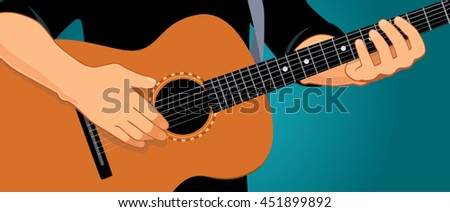 Vector illustration of hands playing light brown acoustic guitar. Close up, blue-green background, horizontal format. You can find the whole arms and guitar under the clipping mask in the eps file. - stock vector