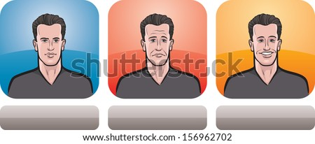 Vector illustration of handsome man face in three expressions: neutral, sad and happy - head and shoulders composition. Layered vector EPS10 format file. - stock vector