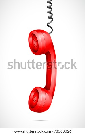 vector illustration of hanging phone receiver against abstract background - stock vector