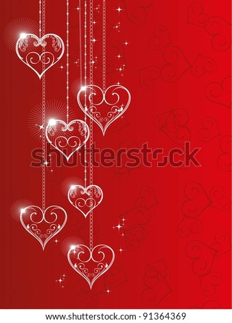 Vector illustration of hanging shiny heart shapes with floral element and stars on red seamless heart shape background for Valentine Day. - stock vector