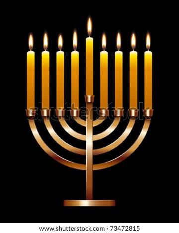 Vector illustration of Hanukkah menorah - stock vector