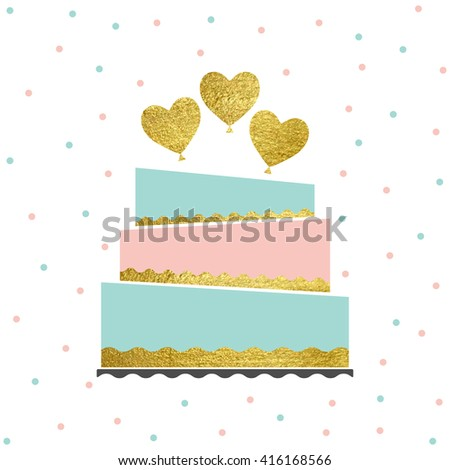 Vector illustration of happy birthday card. Birthday card isolated on white background. Birthday card invitation with cake and gold balloon. Birthday card for your project. - stock vector