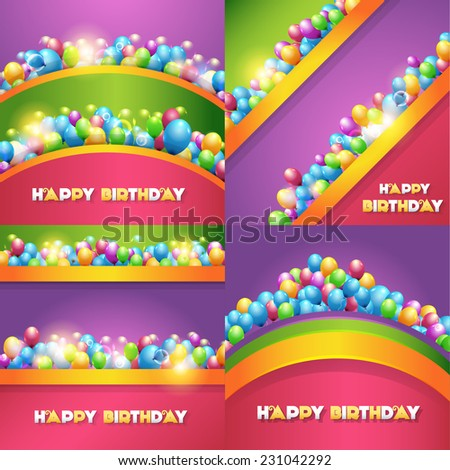 Vector Illustration of Happy Birthday Design Collections - stock vector