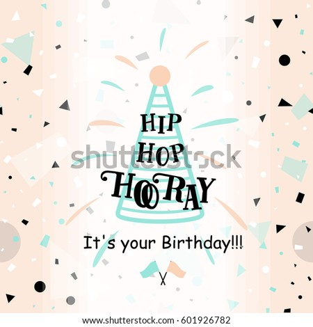 Vector illustration happy birthday greeting card stock vector vector illustration of happy birthday greeting card with typography lettering text sign rays hat bookmarktalkfo Gallery