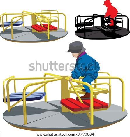 Vector illustration of Happy boy on the carousel - stock vector