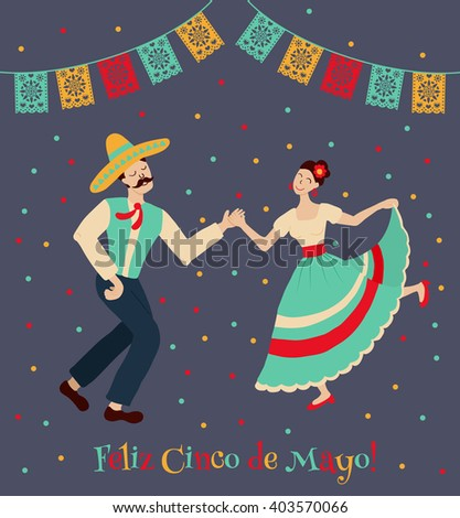 vector illustration of happy dancing  couple, celebrating Cinco de Mayo. Feliz Cinco de Mayo text is translated as Happy Fifth of May. - stock vector