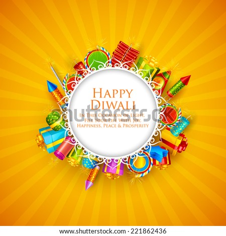 vector illustration of Happy Diwali card with firecracker and gifts - stock vector
