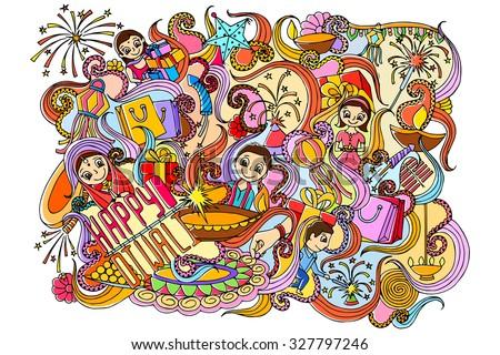vector illustration of Happy Diwali doodle drawing - stock vector