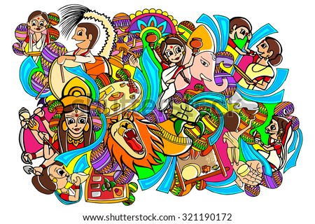 vector illustration of Happy Durga Puja doodle drawing - stock vector