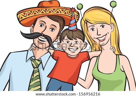 Vector illustration of happy family in mexican style funny hats - stock vector