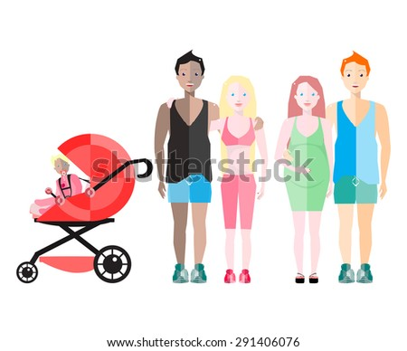Vector illustration of happy  family. Pregnant woman and her Partner. Traditional couple with baby carriage. Young Parents with Baby Girl. - stock vector