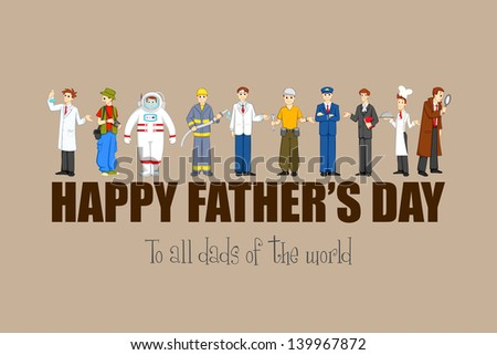 vector illustration of Happy Father's Day background with different professional - stock vector