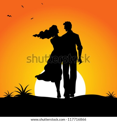 vector illustration of happy male and female couple walking in sunset - stock vector
