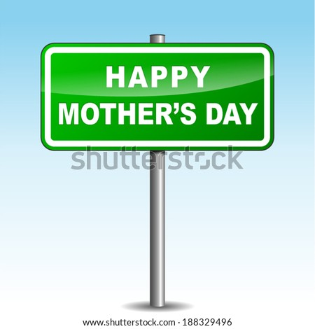 Vector illustration of happy mother's day signpost on sky background