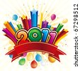 vector illustration of happy new year 2011 - stock photo