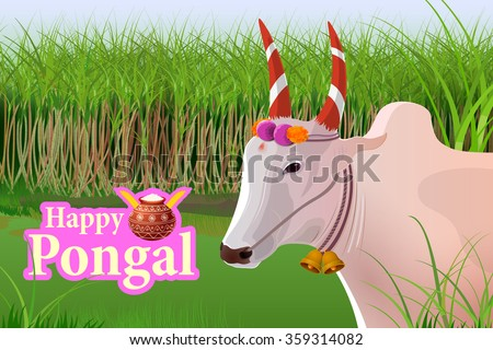 vector illustration of Happy Pongal celebration background - stock vector