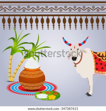 Vector illustration happy pongal greeting card stock vector vector illustration of happy pongal greeting card m4hsunfo