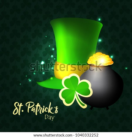 Vector illustration of Happy Saint Patrick's Day logotype. Hand sketched Irish celebration design. Beer festival lettering typography icon. Hand drawn typography badge with green hat and shamrock
