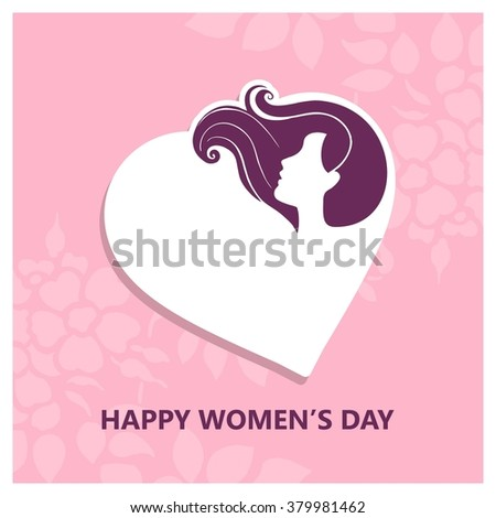 Vector illustration of Happy Women Day pink background - stock vector