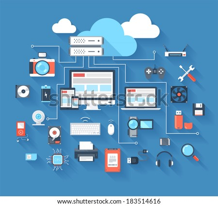 Vector illustration of hardware and cloud computing concept on blue background with long shadow. - stock vector