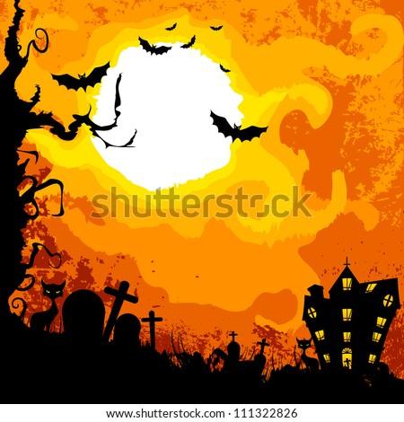 vector illustration of haunted castle in Halloween night - stock vector
