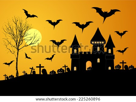 vector illustration of haunted old house in scary Halloween night. - stock vector