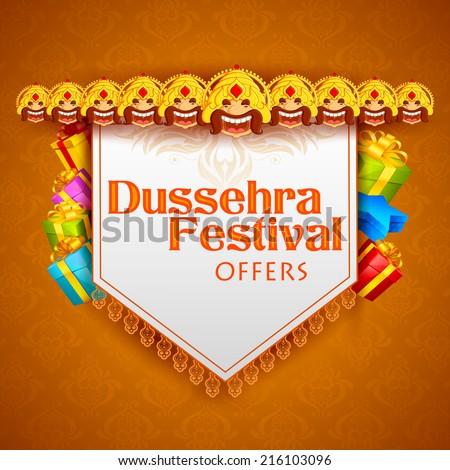 vector illustration of head of Ravana for Dussehra Festival Offer - stock vector