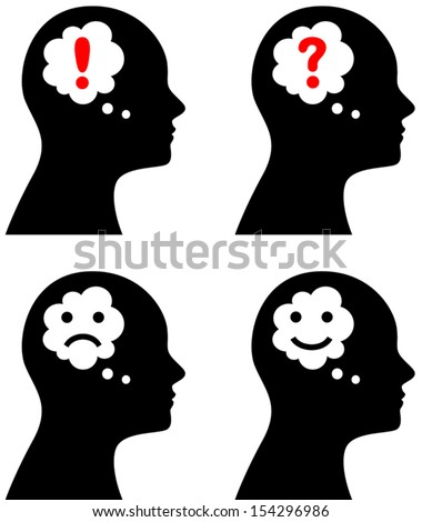 Vector illustration of head with thought or speech bubble, emotion concept, question, idea, sadness, depression or happiness - stock vector