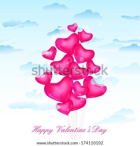vector illustration of heart balloon for Valentine's Day - stock vector
