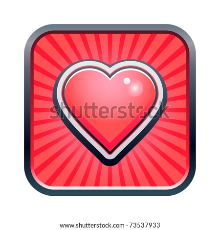 Vector illustration of heart icon - stock vector