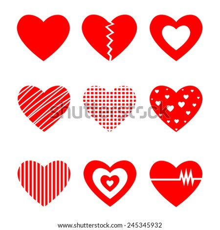 Vector illustration of Heart on white background. Collection of red hearts. - stock vector