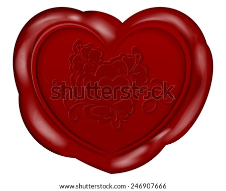 Vector illustration of Heart shape wax seal for valentines day - stock vector
