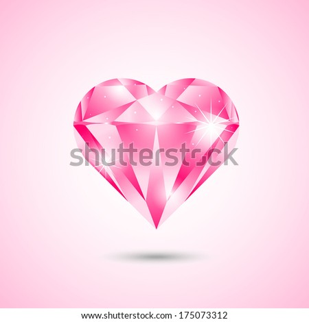Vector illustration of heart-shaped diamond