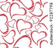 Vector illustration of heart shapes with copy space on seamless white background for Valentines Day and other occasions. - stock photo