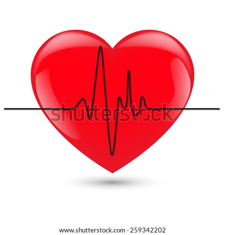vector illustration of heart with cardiogram