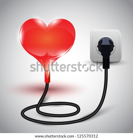 vector illustration of heart with power cable - stock vector