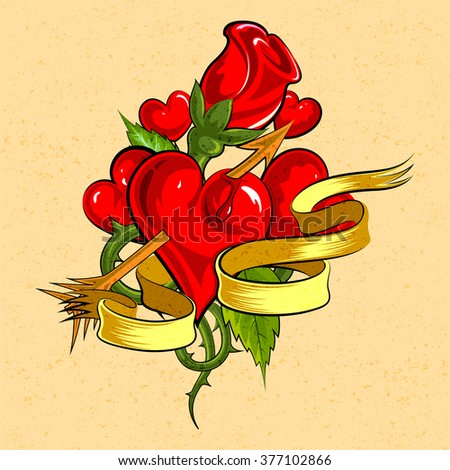 vector illustration of heart with rose for Valentine's day background - stock vector