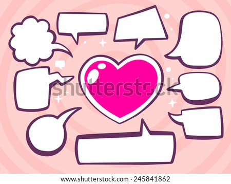 Vector illustration of heart with speech comics bubbles on pink background. Line art design for web, site, advertising, banner, poster, board and print. - stock vector