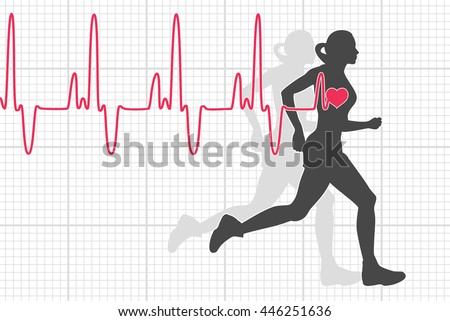 vector illustration of heartbeat electrocardiogram and running woman - stock vector