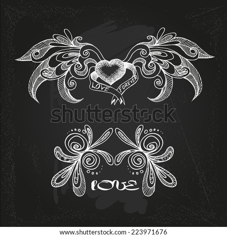 vector illustration of hearts and wings - stock vector