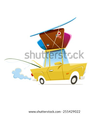 Vector illustration of heavy loaded car which is traveling to vacation - stock vector