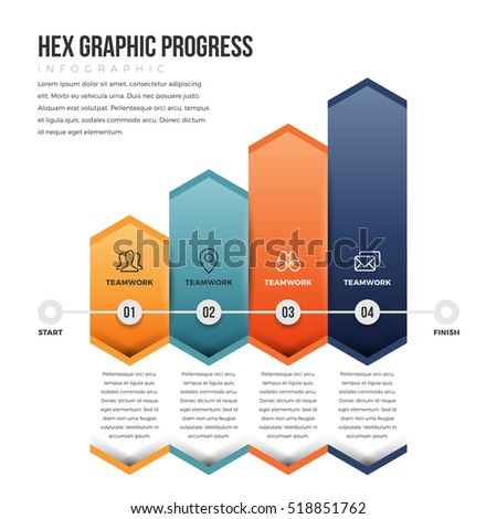 Vector illustration of hex graphic progress infographic design element.