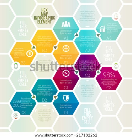 Vector illustration of hex map infographic design element. - stock vector