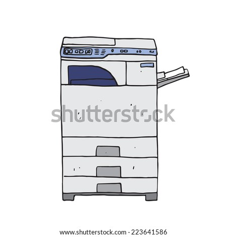 Vector illustration of Hi-tech photocopier machine, isolated on white. - stock vector