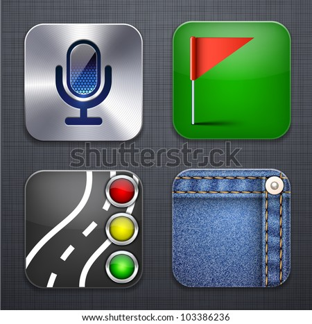 Vector illustration of high-detailed apps icon set over linen texture. - stock vector