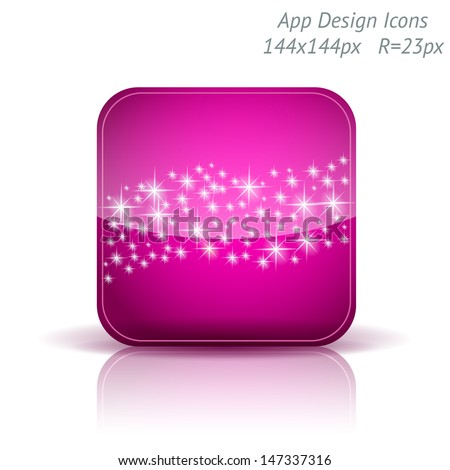 Vector illustration of high-detailed apps icon template. Starry background. Can be used for applications, card designs, wedding invitations, flyers, adverts, leaflets, graphic user interfaces, xmas - stock vector
