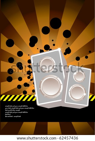 vector illustration of high powered speakers - stock vector